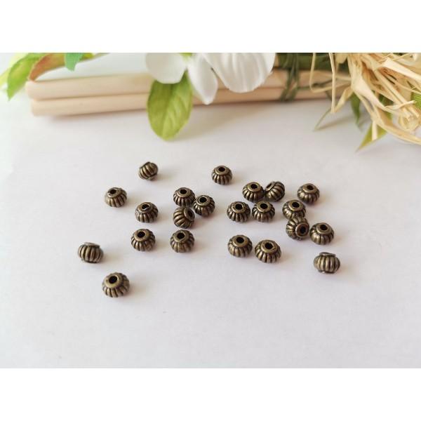 Perles métal toupies striées 5 mm bronze x 10 - Photo n°1