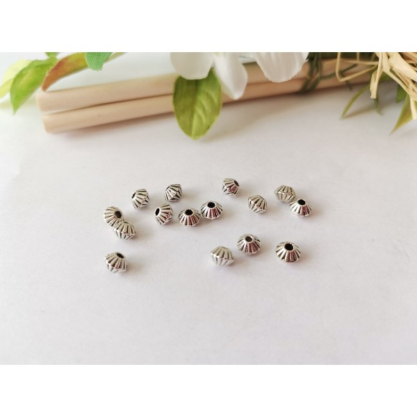 Perles métal toupies 5 mm argent mat x 10 - Photo n°1