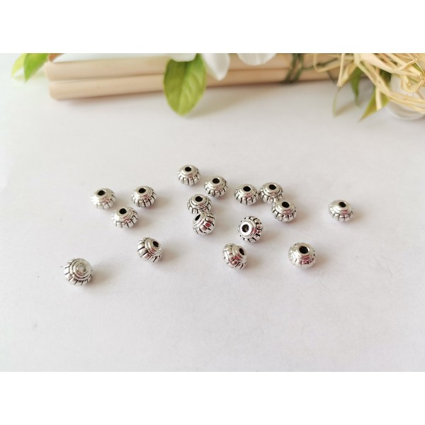 Perles métal toupies 6 mm argent mat x 10 - Photo n°1