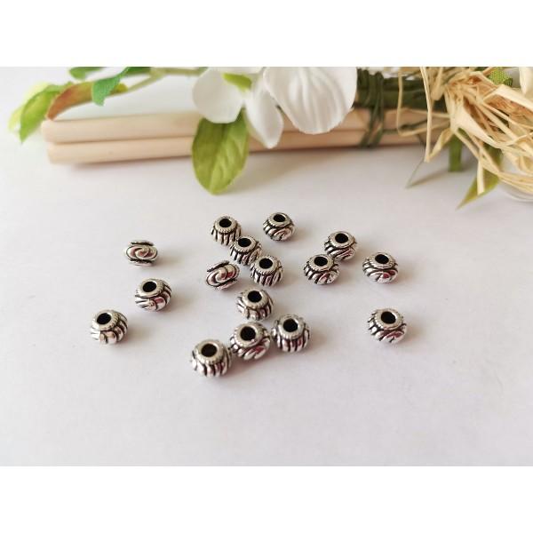 Perles métal toupies 7 mm argent mat x 10 - Photo n°1