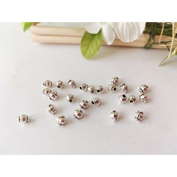 Perles métal toupies 4 mm argent mat x 10 - Photo n°1