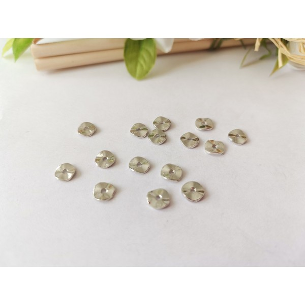 Perles métal intercalaire ondulées 6 mm argent mat x 20 - Photo n°1