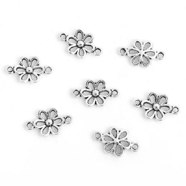 Connecteurs fleurs 15 mm argent mat x 10 - Photo n°1