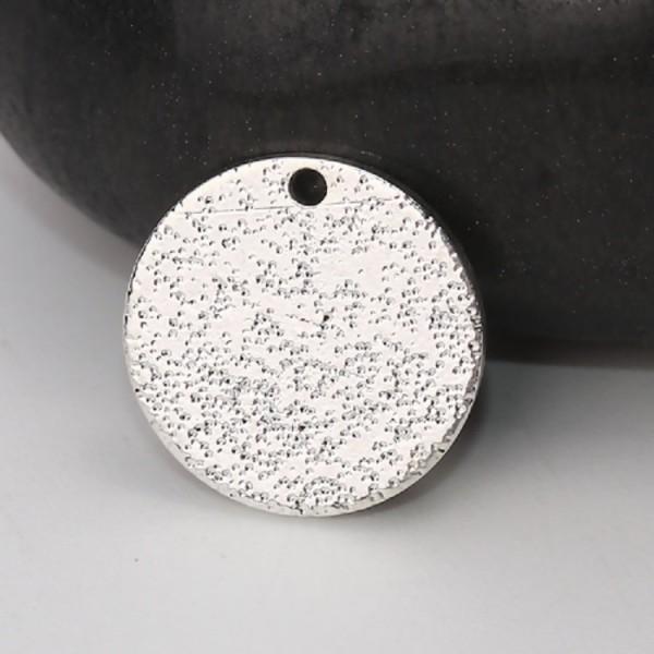 Pendentif métal granuleux rond 25 mm argenté x 2 - Photo n°1