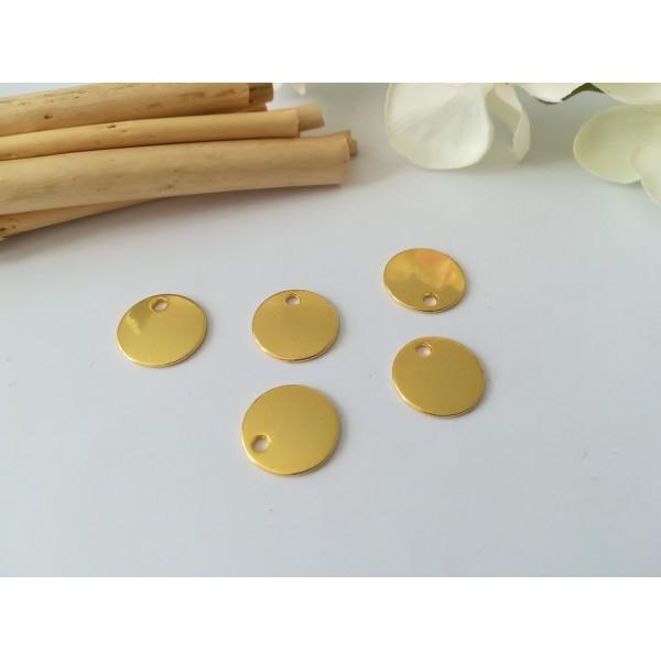 Pendentif sequin métal rond 16 mm doré x 4 - Photo n°1