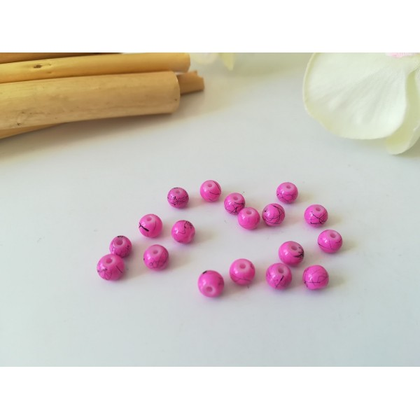 Perles en verre tréfilé 4 mm rose vif x 50 - Photo n°1