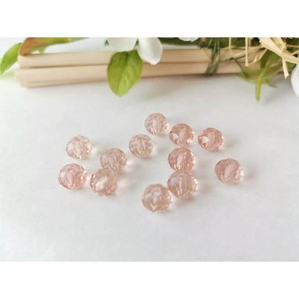 Perles en verre à facette 8 x 6 mm saumon x 20 - Photo n°1