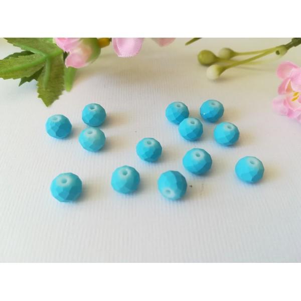 Perles en verre à facette 8 x 6 mm bleu opaque x 20 - Photo n°1