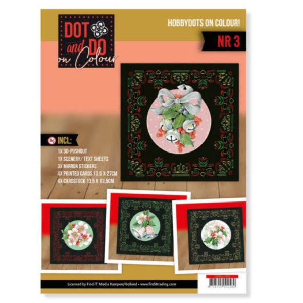 Dot and Do on Colour 3 - Kit Carte 3D - Fleurs rose de Noël - Photo n°1