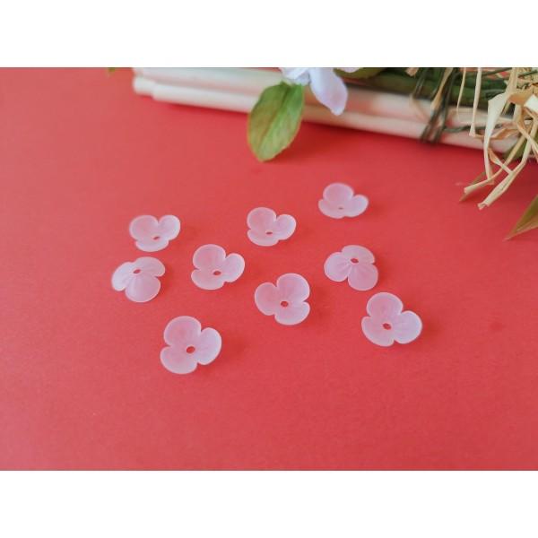 Coupelles fleur acrylique givré 9 mm blanche x 20 - Photo n°2