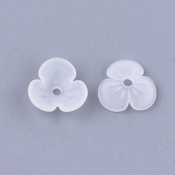 Coupelles fleur acrylique givré 9 mm blanche x 20 - Photo n°3