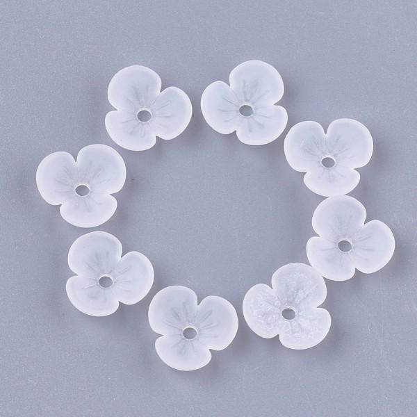 Coupelles fleur acrylique givré 9 mm blanche x 20 - Photo n°1