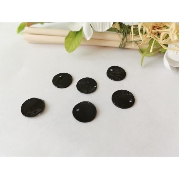 Sequins nacre 12 mm noir x 6 - Photo n°2