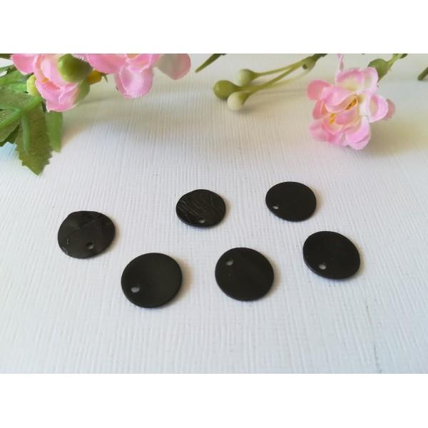 Sequins nacre 12 mm noir x 6 - Photo n°1