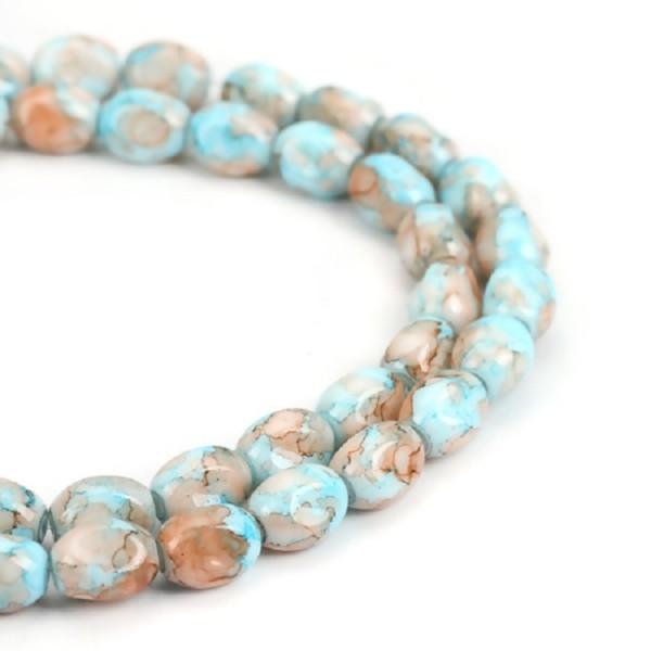 Perles en verre ovale à facette 13 mm bleu orange x 10 - Photo n°2