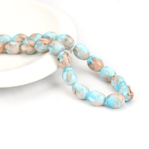 Perles en verre ovale à facette 13 mm bleu orange x 10 - Photo n°1