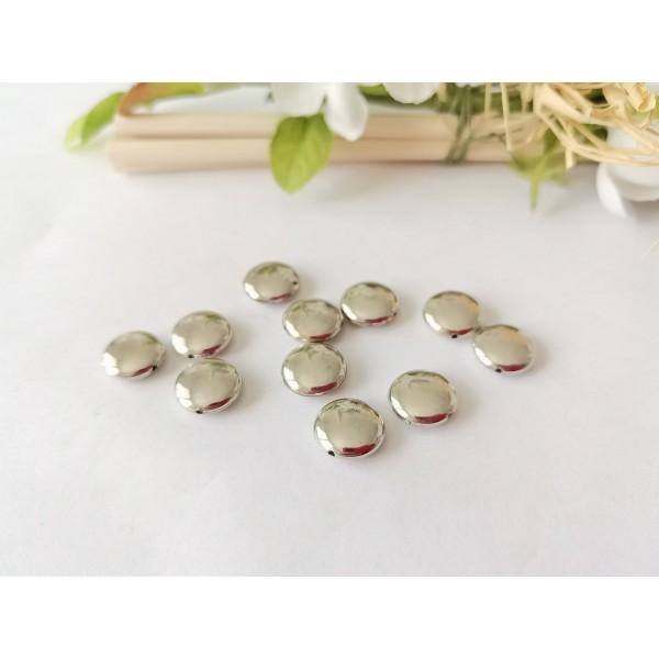 Perles acrylique rondes et plates 10 mm argentées x 10 - Photo n°1