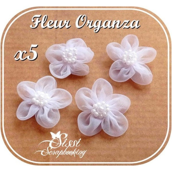 Lot 6 fleurs organza blanc perles perlé layette Sissi scrapbooking 30mm - Photo n°1