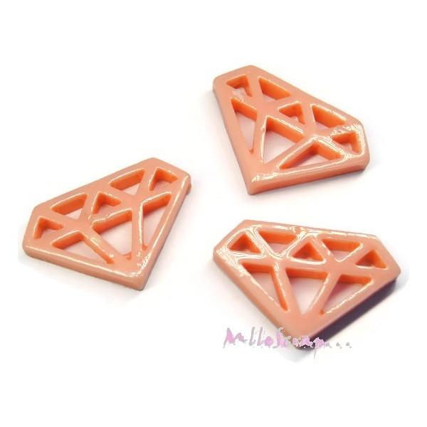 Cabochons diamants résine rose clair - 3 pièces - Photo n°1