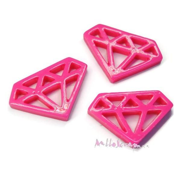 Cabochons diamants résine rose - 3 pièces - Photo n°1