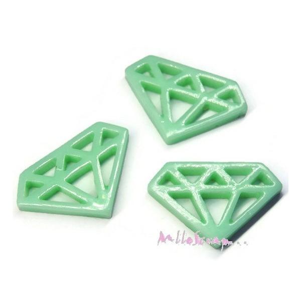 Cabochons diamants résine vert - 3 pièces - Photo n°1