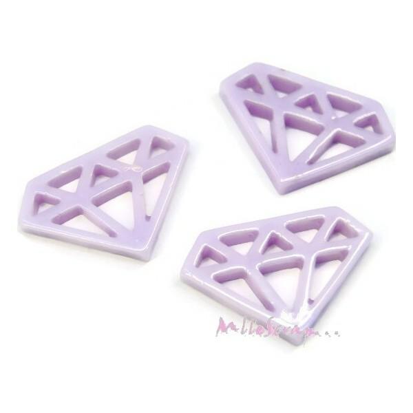 Cabochons diamants résine violet - 3 pièces - Photo n°1
