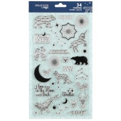 Tampons Transparents - Constellation - 34 pcs