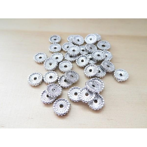 8 Perles intercalaires style heishi 7mm laiton argenté, perles rondelles striées - Photo n°1