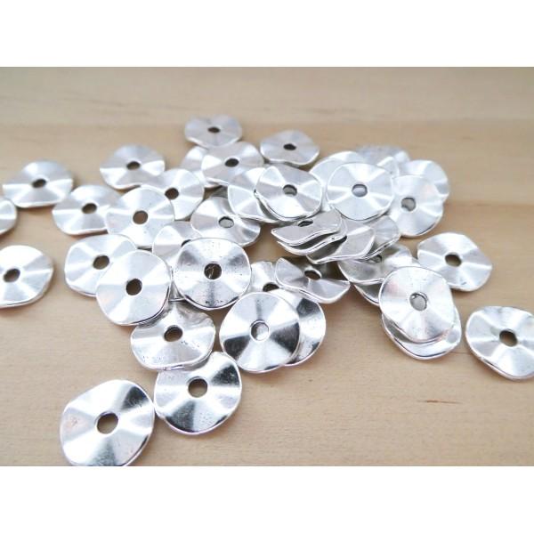 20 Perles intercalaires rondelles ondulées 10mm argenté - Photo n°1
