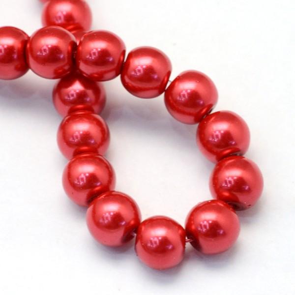 Perles en verre nacré 10 mm rouge x 10 - Photo n°2