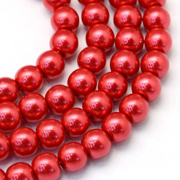 Perles en verre nacré 10 mm rouge x 10 - Photo n°1