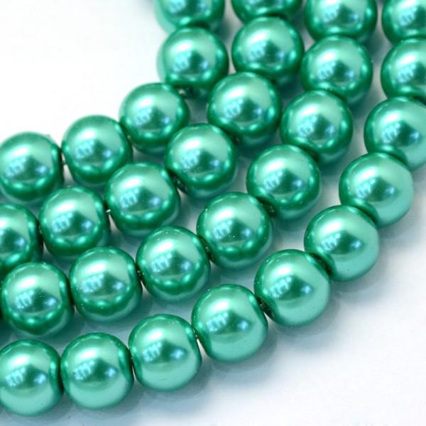 Perles en verre nacré 10 mm verte x 10 - Photo n°1