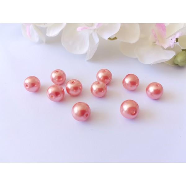 Perles en verre nacré 10 mm saumon x 10 - Photo n°1