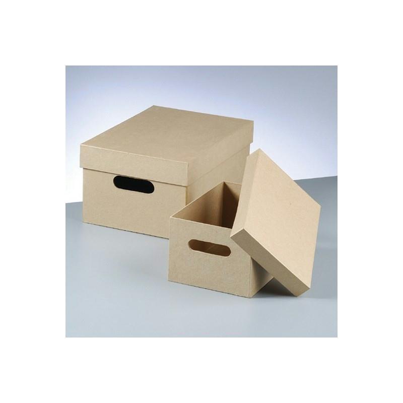 set de 2 boites de rangement avec poign es et couvercle en carton 36cm et 26cm boite en. Black Bedroom Furniture Sets. Home Design Ideas