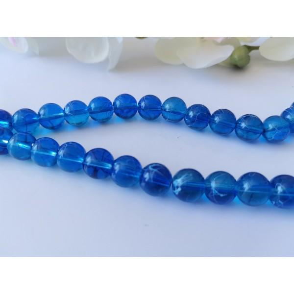 Perles en verre tréfilé 10 mm bleu marine x 10 - Photo n°1