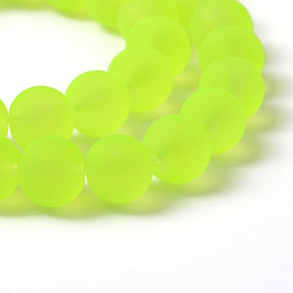 Perles en verre ronde dépoli 8 mm jaune fluo x 20 - Photo n°1