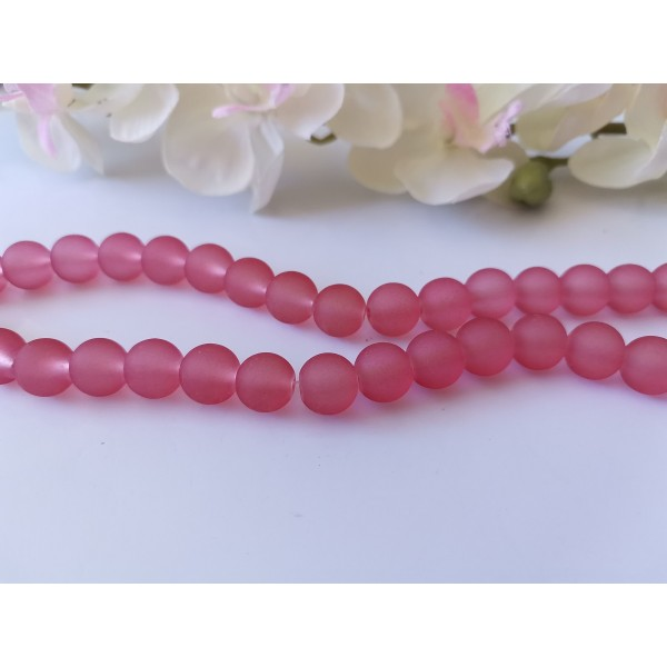 Perles en verre givré 10 mm framboise x 10 - Photo n°1