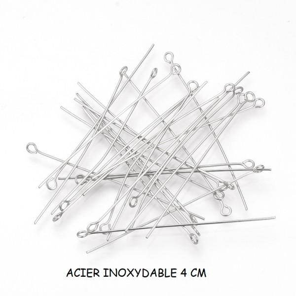 Clous tiges acier inoxydable 4 cm à tête œil x 20 - Photo n°1