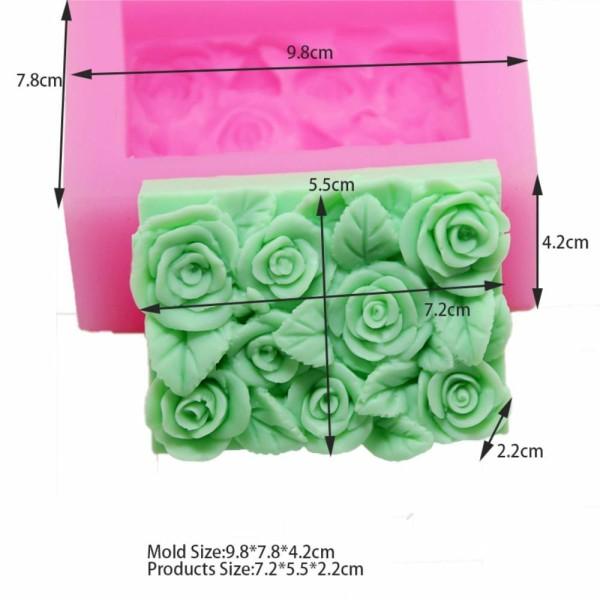 1pc Rose Fleurs 3D Silicone Savon Moule argile gypse moule Uv Résine cire Bougie chocolat Gâteau Fon - Photo n°1