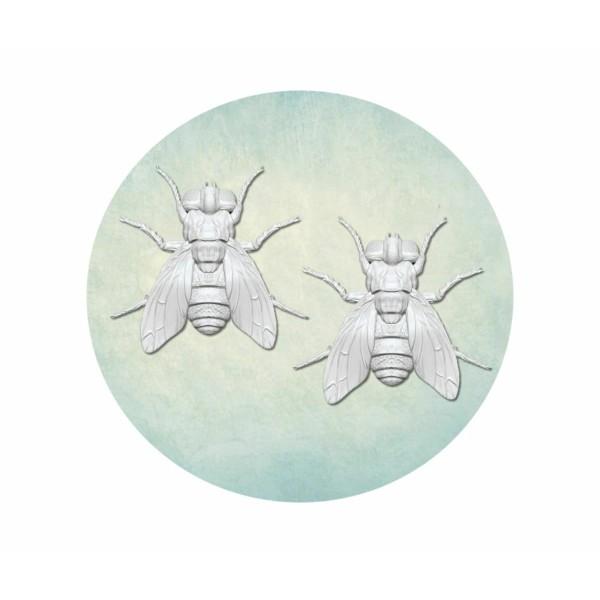 1 pc 2 Minuscule Mouche Insecte 3d Silicone Uv Résine Époxy Moule Argile Scrapbooking Moule Bijoux C - Photo n°1