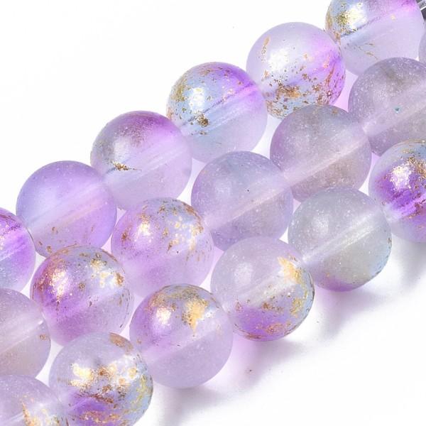 Perles en verre dépoli feuille d'or 10 mm mauve x 10 - Photo n°2
