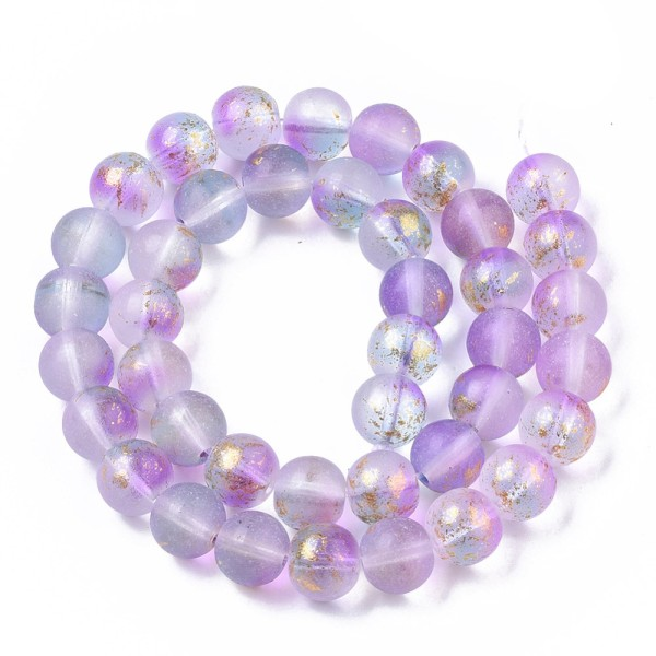 Perles en verre dépoli feuille d'or 10 mm mauve x 10 - Photo n°3