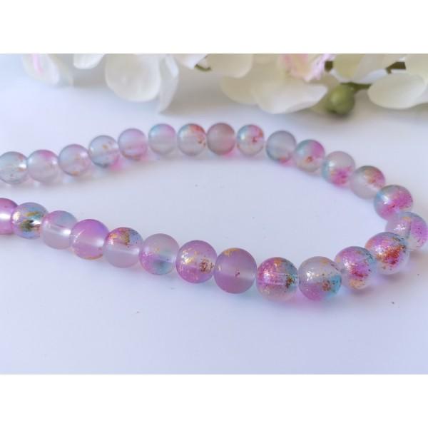 Perles en verre dépoli feuille d'or 10 mm mauve x 10 - Photo n°1