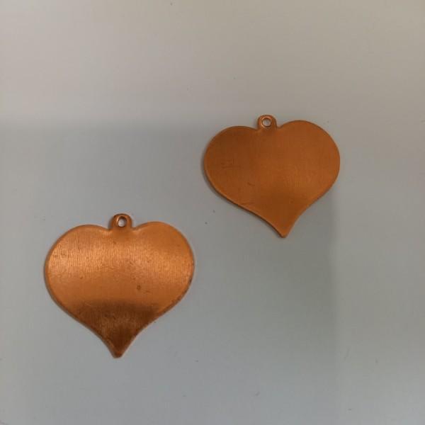 Deux coeurs en cuivre pour émaillage , 27 mm de haut , en cuivre - Photo n°1