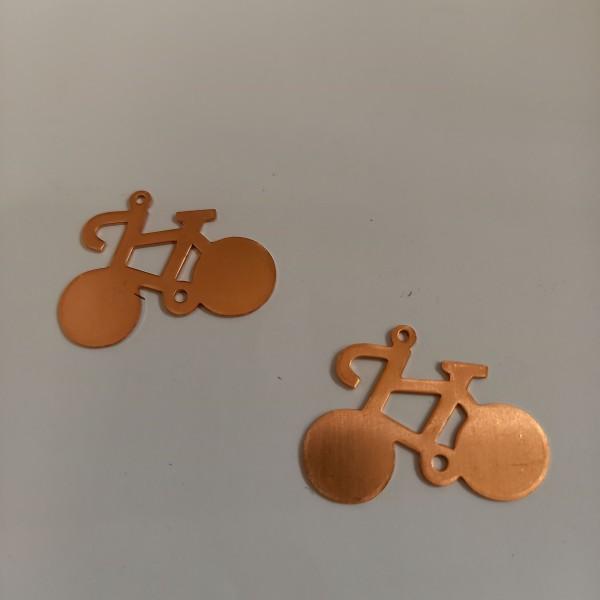 Deux velos en cuivre pour émaillage , 27 mm de haut , en cuivre - Photo n°1