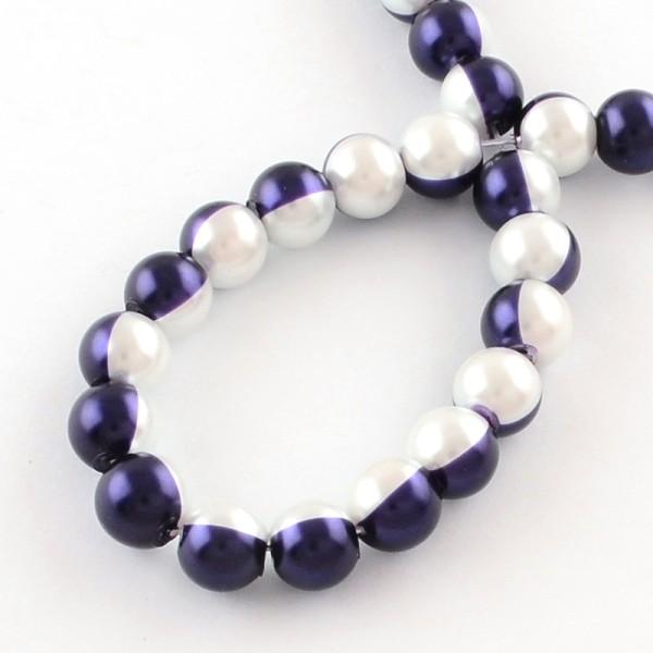 Perles en verre nacré bicolore 10 mm violet et blanc x 10 - Photo n°2