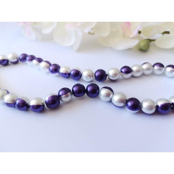 Perles en verre nacré bicolore 10 mm violet et blanc x 10 - Photo n°3