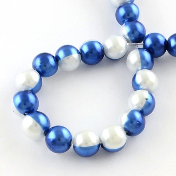 Perles en verre nacré bicolore 10 mm bleu et blanc x 10 - Photo n°2