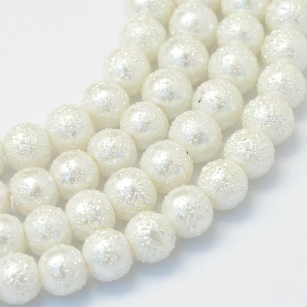 Perles en verre effet granuleux 10 mm blanche x 10 - Photo n°2