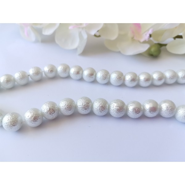Perles en verre effet granuleux 10 mm blanche x 10 - Photo n°1